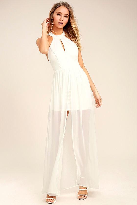 Lovely White Dress - Maxi Dress - Lace Dress - Halter Dress - $64.00