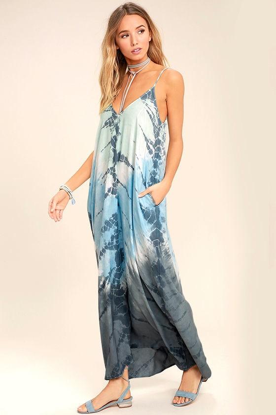 Crashing Waves Blue Tie-Dye Maxi Dress 2