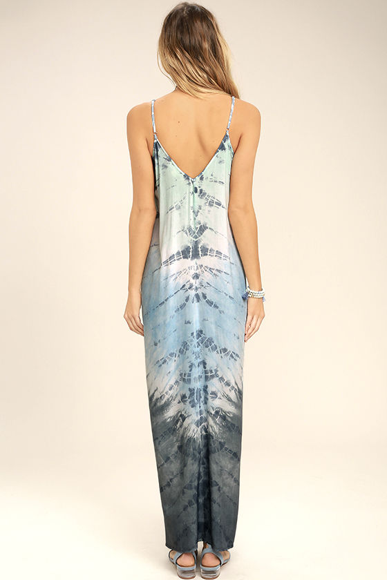 Crashing Waves Blue Tie-Dye Maxi Dress 4