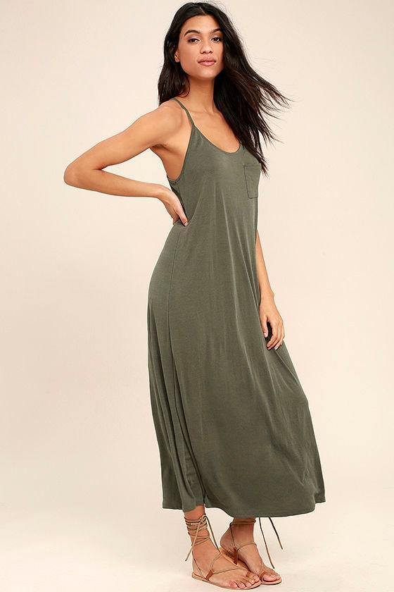 PPLA Frida Olive Green Midi Dress 1