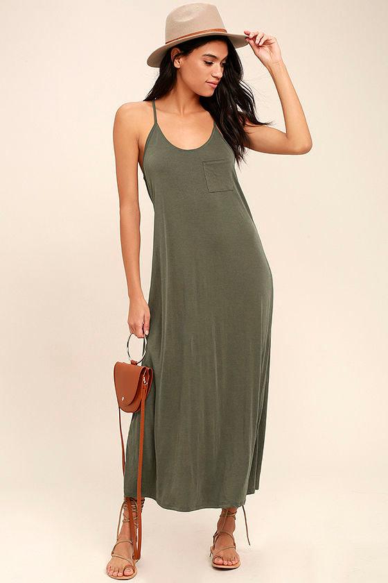 PPLA Frida Olive Green Midi Dress 2
