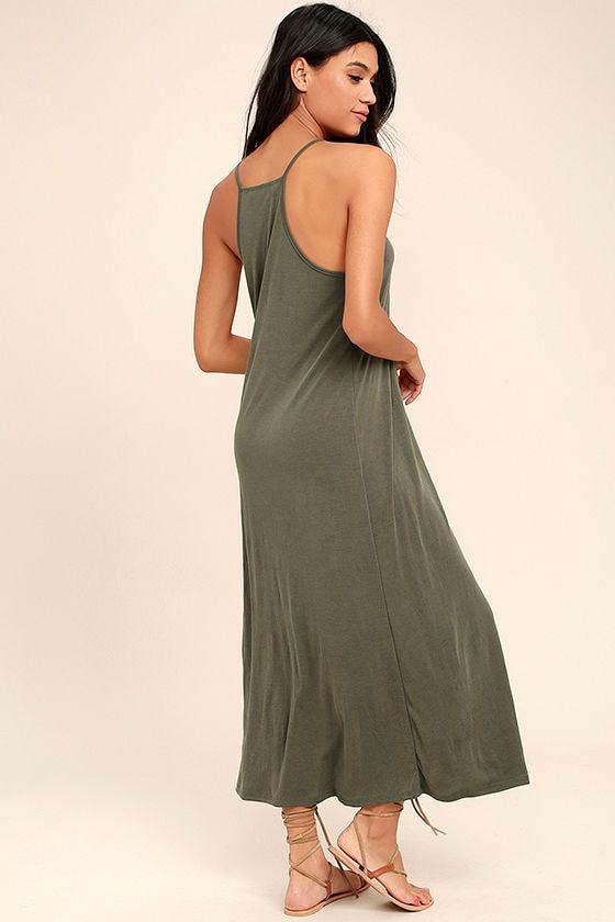 PPLA Frida Olive Green Midi Dress 3