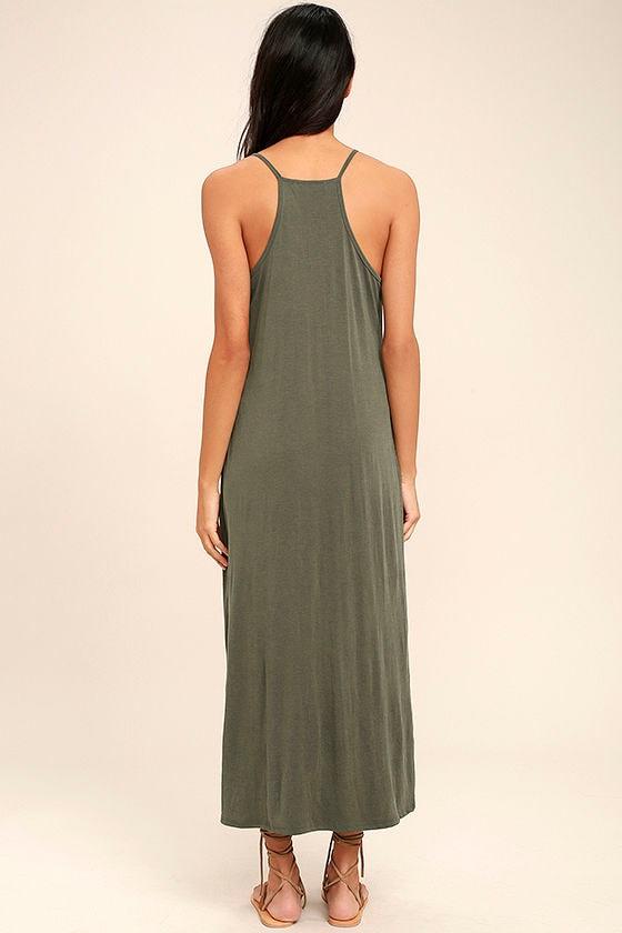 PPLA Frida Olive Green Midi Dress 4
