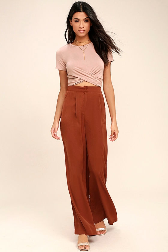 Chic Rust Red Pants - Wide-Leg Pants - High-Waisted Pants - $44.00