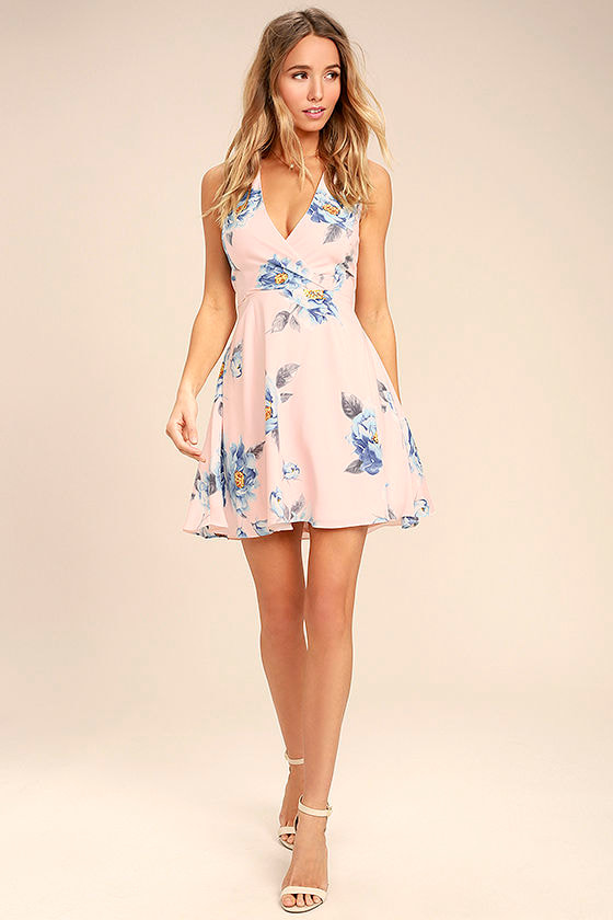 311bb2da Cute Blush Pink Dress - Floral Print Dress - Lace-Up Dress