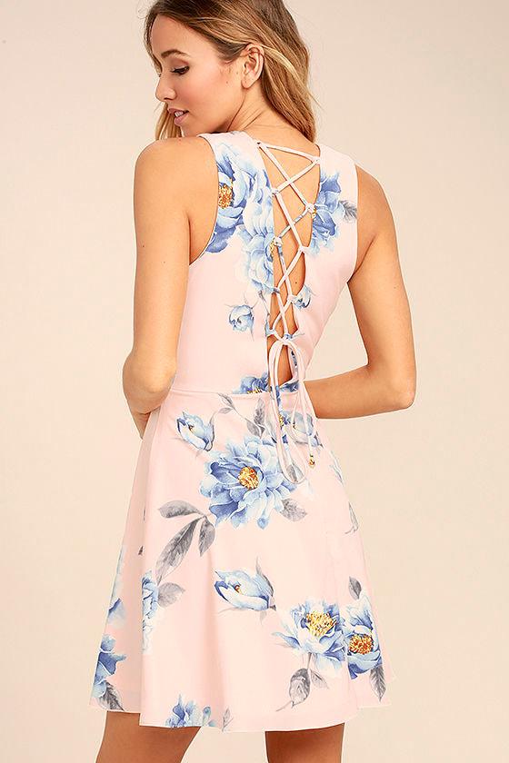 1d33544d19 Cute Blush Pink Dress - Floral Print Dress - Lace-Up Dress