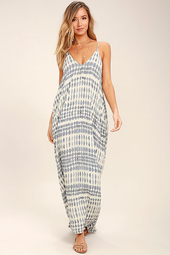 Tide Chaser Cream and Grey Print Maxi Dress 1