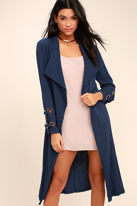 Invigorating Navy Blue Trench Coat 1