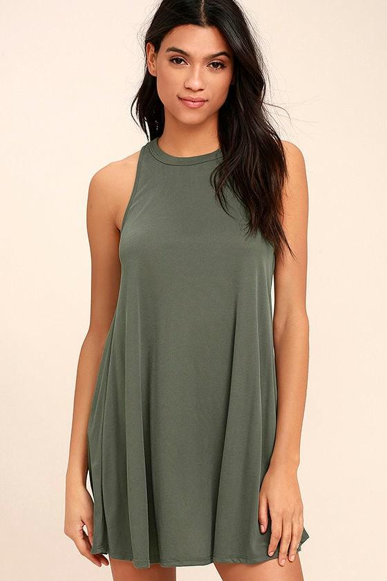 f0f453c9a61a Esther Olive Green Dress - Swing Dress - Halter Swing Dress -  55.00