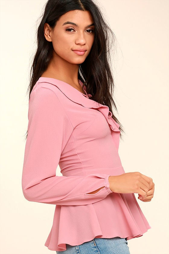 Sugar Sweet Blush Pink Long Sleeve Peplum Top 1
