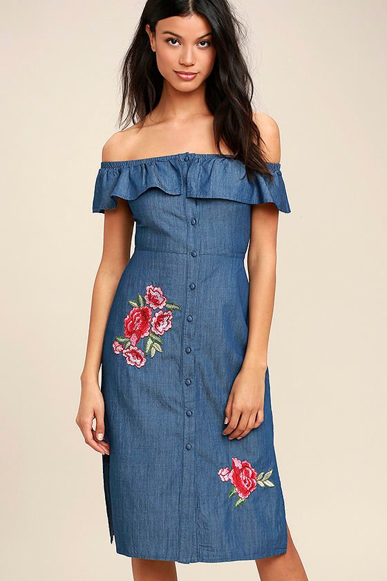 d278a0f5a65 Cute Blue Chambray Dress - Off-the-Shoulder Chambray Dress - Embroidered  Midi Dress -  58.00
