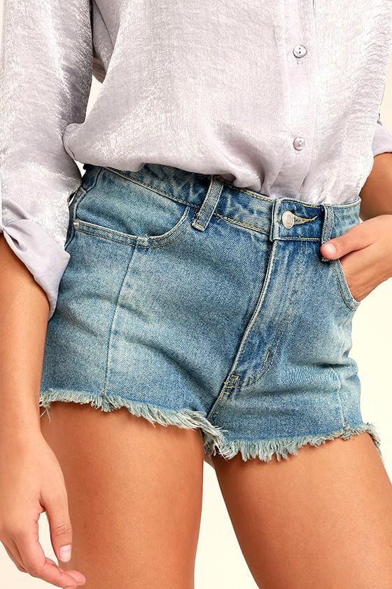 Brighten Your Day Light Wash Cutoff Denim Shorts 1