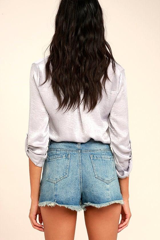 Brighten Your Day Light Wash Cutoff Denim Shorts 4