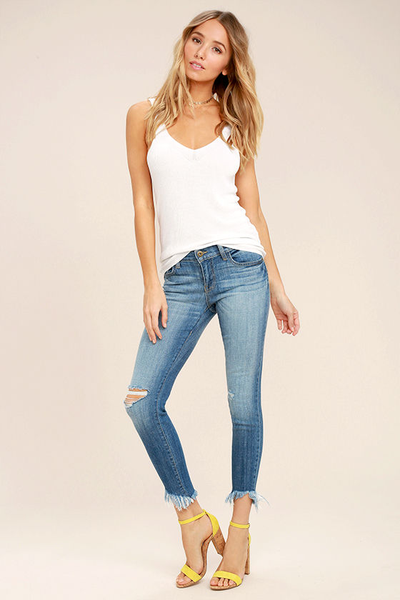 Audrey Medium Wash Distressed Ankle Skinny Jeans 1