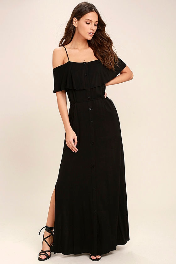 Lovely Black Off The Shoulder Dress Black Maxi Dress Button Up