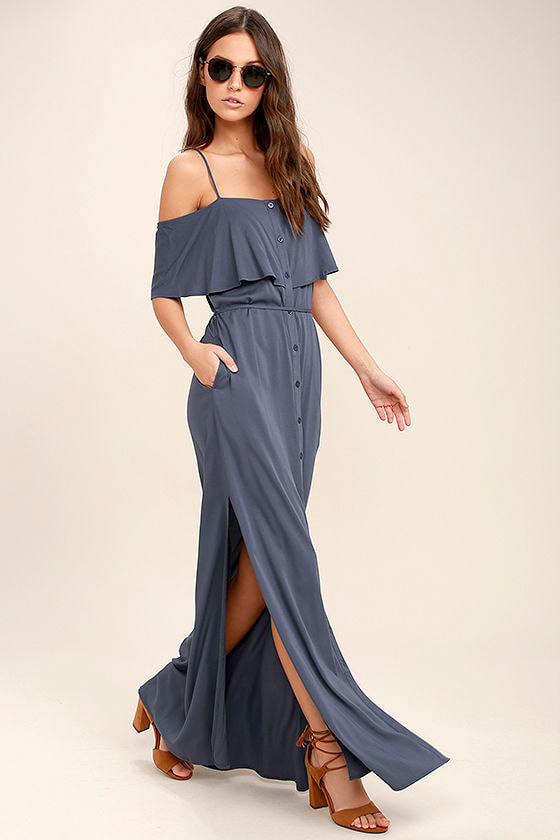 Lovely Denim Blue Off-the-Shoulder Dress - Denim Blue Maxi Dress ...