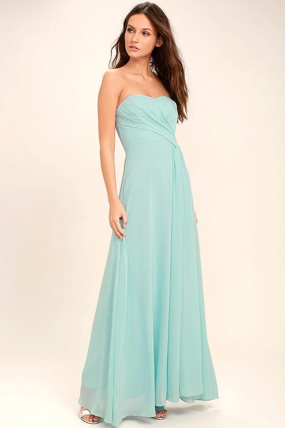 Romantic Ballad Mint Blue Strapless Maxi Dress 1
