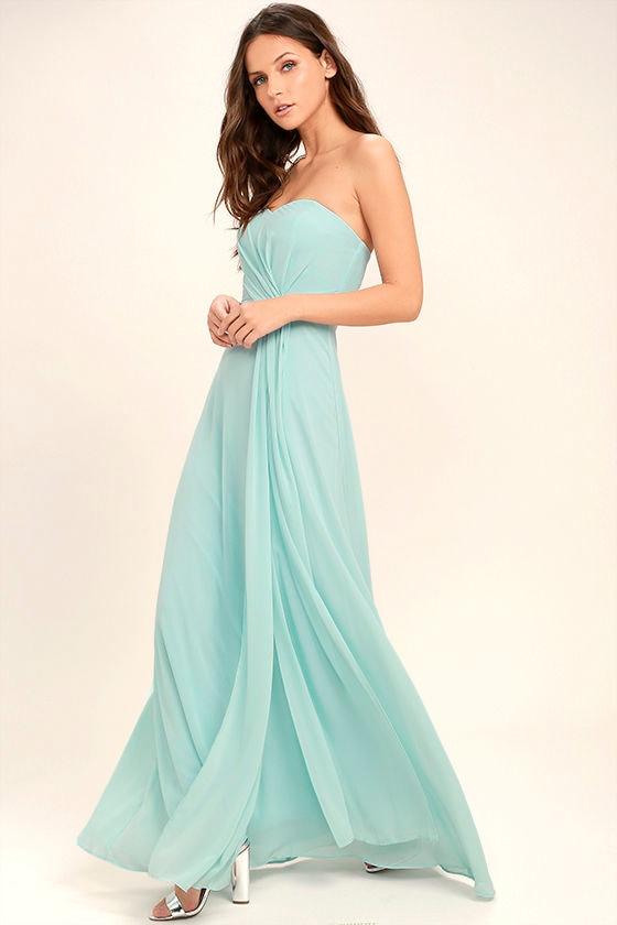 Romantic Ballad Mint Blue Strapless Maxi Dress 2