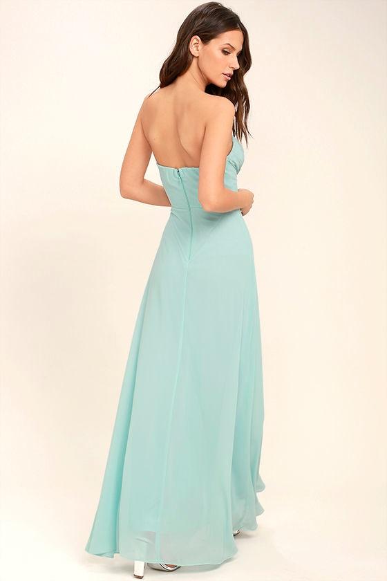 Romantic Ballad Mint Blue Strapless Maxi Dress 3