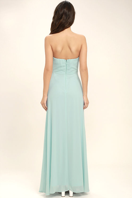 Romantic Ballad Mint Blue Strapless Maxi Dress 4