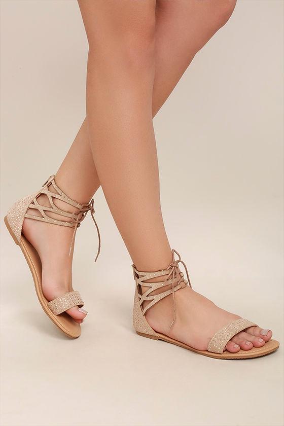 Clarinda Natural Rhinestone Lace-Up Sandals 2