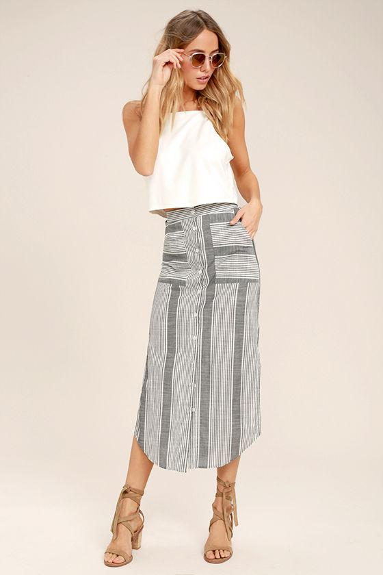 2cc3a81f3 Lovely Grey Skirt - Striped Skirt - Midi Skirt - Button-Up Skirt - $49.00