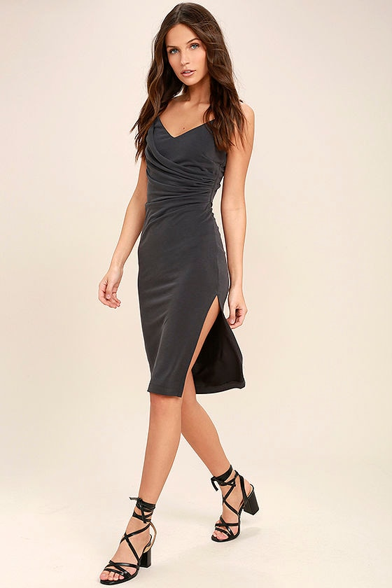Swept Up Charcoal Grey Bodycon Midi Dress 2