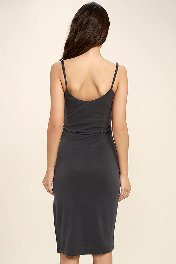 Swept Up Charcoal Grey Bodycon Midi Dress 4