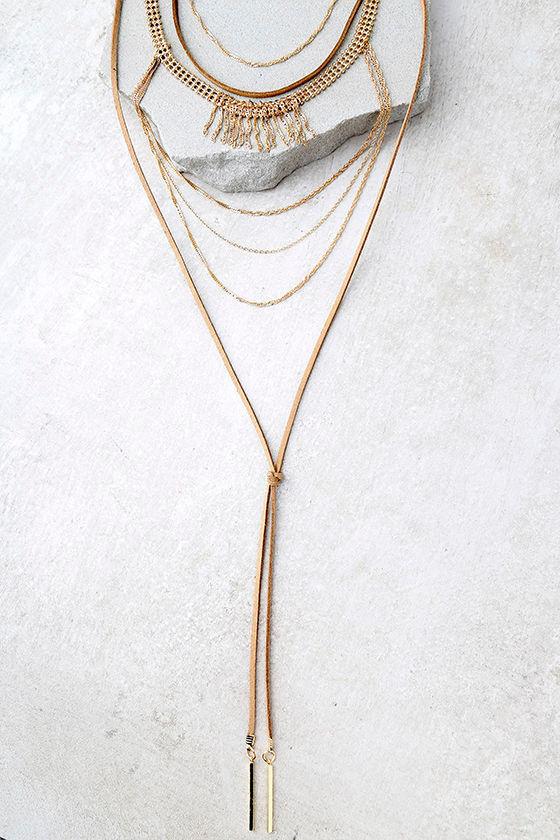 Rockabye Brown Layered Choker Necklace 1