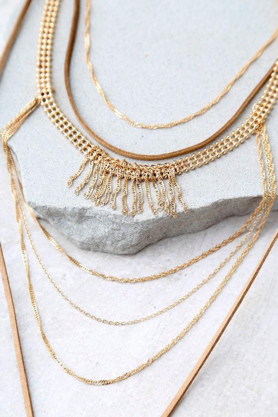 Rockabye Brown Layered Choker Necklace 2