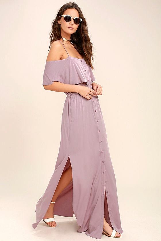 Life's Wonders Mauve Off-the-Shoulder Maxi Dress 1