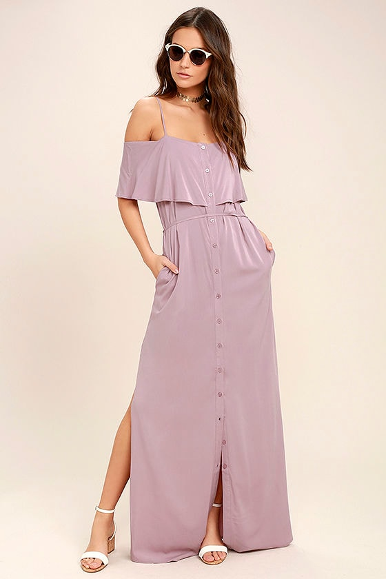 Life's Wonders Mauve Off-the-Shoulder Maxi Dress 2