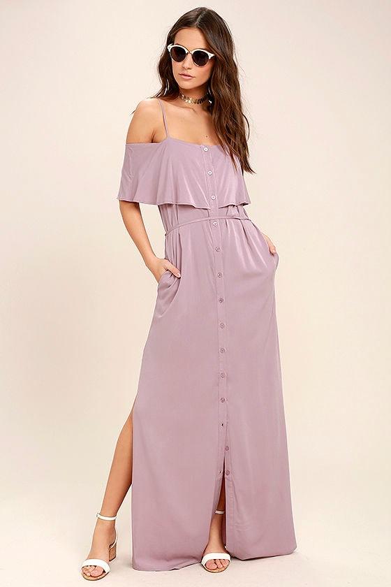 Life's Wonders Mauve Off-the-Shoulder Maxi Dress 2