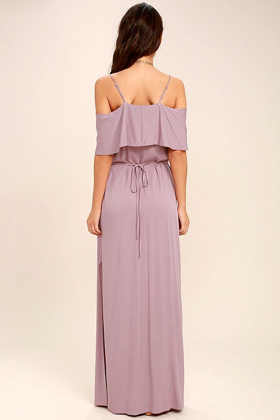Life's Wonders Mauve Off-the-Shoulder Maxi Dress 4