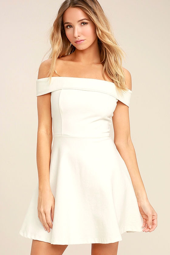 Cute White Dress - Off-the-Shoulder Dress - LWD - Skater Dress ...