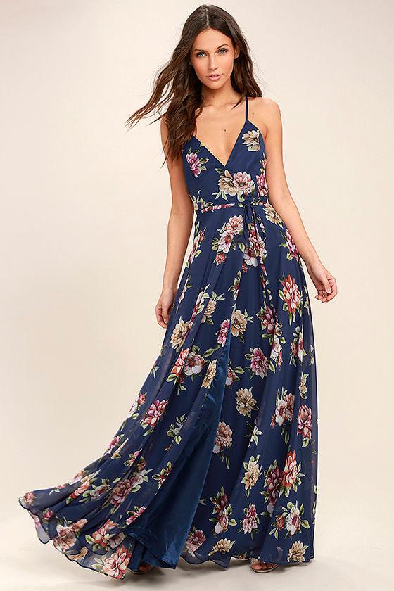 Lovely Navy Blue Floral Print Dress - Maxi Dress - Wrap Dress - $98.00