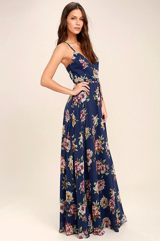 1f94d14d5e Lovely Navy Blue Floral Print Dress - Maxi Dress - Wrap Dress -  98.00