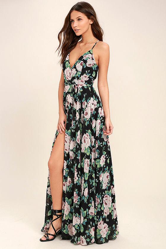 Legendary Romance Black Floral Print Wrap Maxi Dress 1