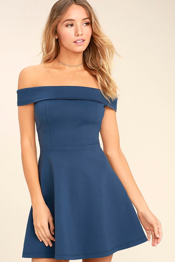 Season of Fun Denim Blue Off-the-Shoulder Skater Dress 1
