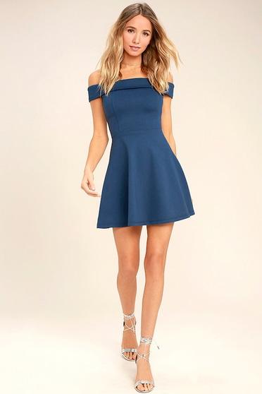7b523be8c44f Cute Denim Blue Dress - Off-the-Shoulder Dress - Skater Dress -  52.00