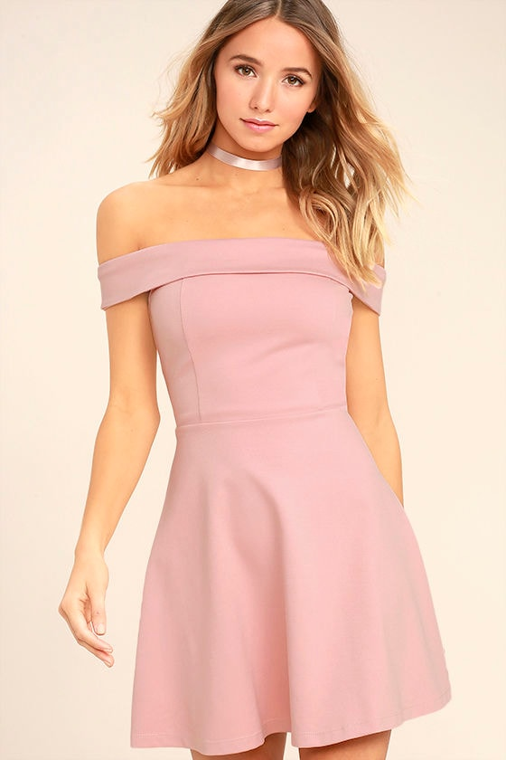 c7ac1610f52 Cute Blush Pink Dress - Off-the-Shoulder Dress -Skater Dress