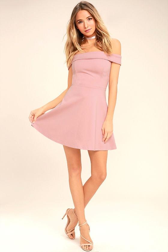 Season of Fun Blush Pink Off-the-Shoulder Skater Dress 2