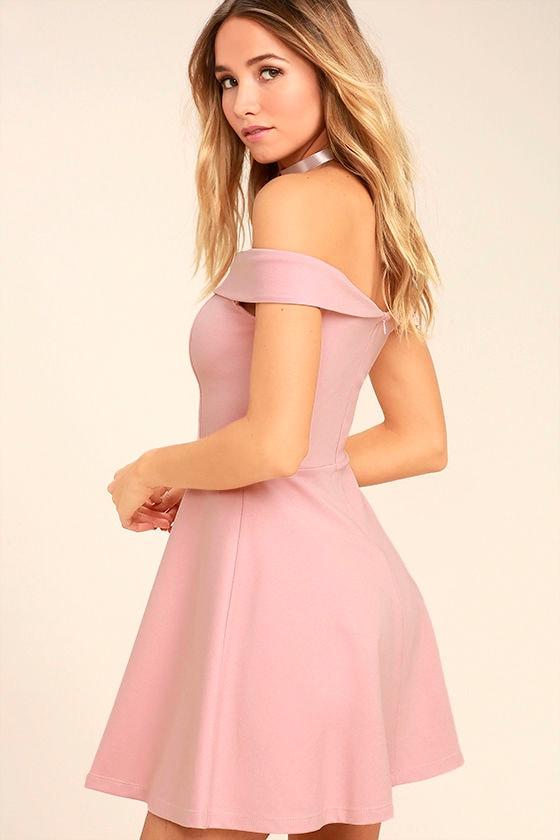Season of Fun Blush Pink Off-the-Shoulder Skater Dress 3