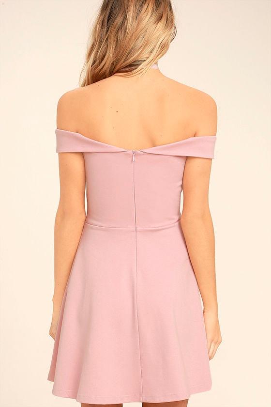 Season of Fun Blush Pink Off-the-Shoulder Skater Dress 4