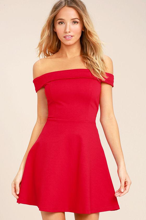 Cute Red Dress - Off-the-Shoulder Dress - Skater Dress - $52.00