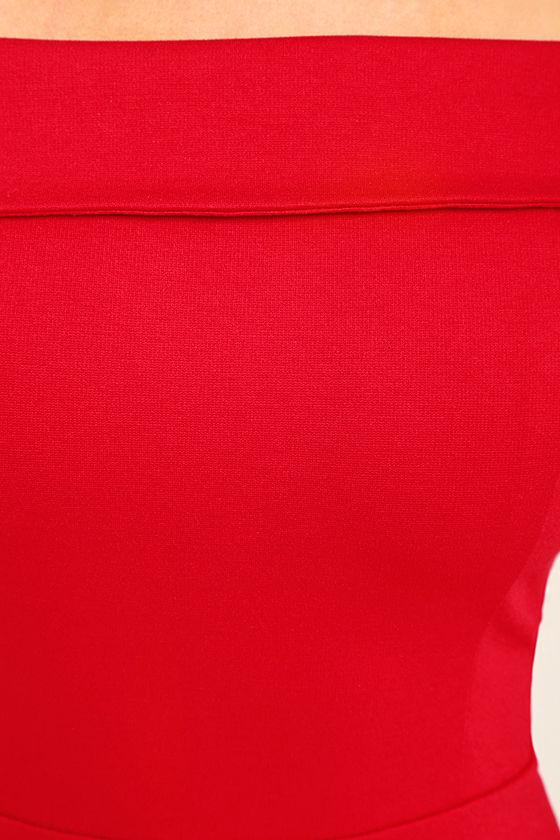 Season of Fun Red Off-the-Shoulder Skater Dress 6