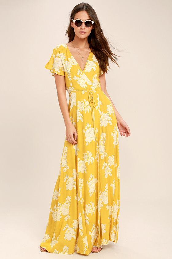 Lovely Yellow Floral Print Dress - Wrap Dress - Maxi Dress - $68.00