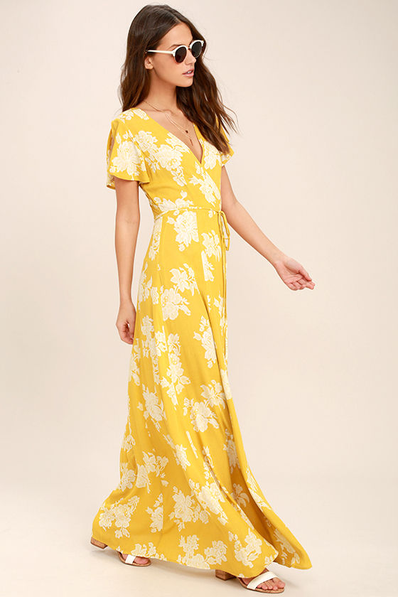 Heart of Marigold Yellow Floral Print Wrap Maxi Dress 2