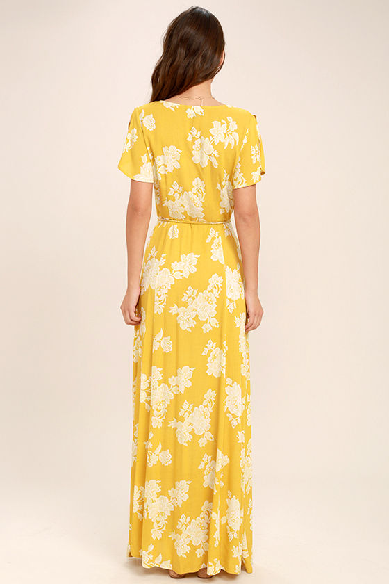 Heart of Marigold Yellow Floral Print Wrap Maxi Dress 4
