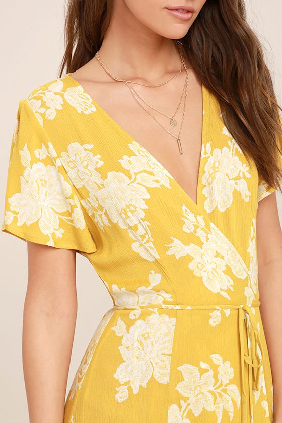 Heart of Marigold Yellow Floral Print Wrap Maxi Dress 5
